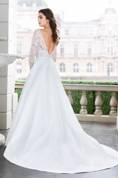 Long Sleeve Lace V-neck Ball Gown Wedding Dress by Paloma Blanca - Image 2