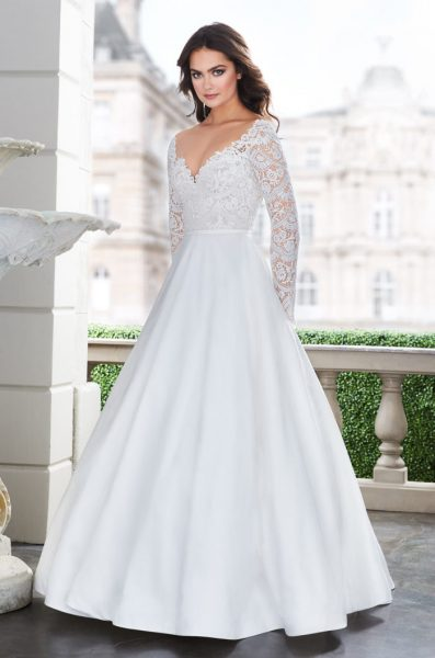Long Sleeve Lace V-neck Ball Gown Wedding Dress by Paloma Blanca - Image 1
