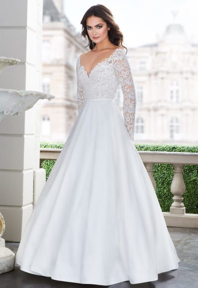 Long Sleeve Lace V-neck Ball Gown Wedding Dress by Paloma Blanca