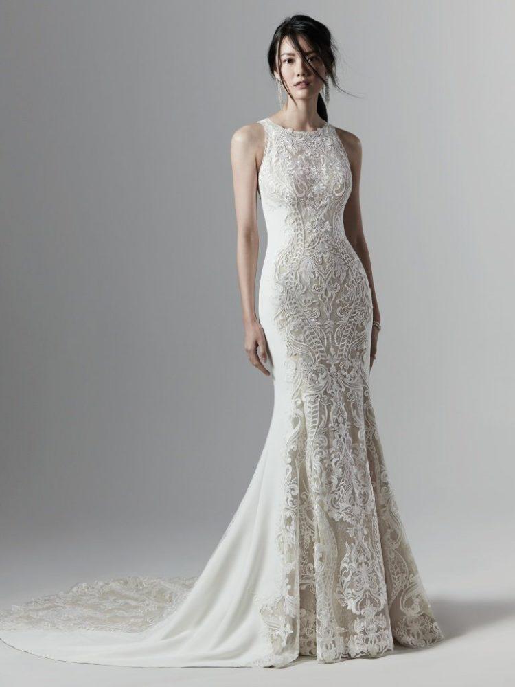 Halter Neckline Lace Wedding Dress