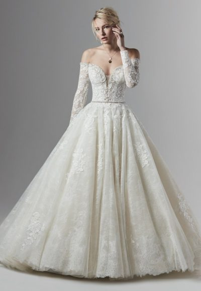 Off The Shoulder Lace Ball Gown Wedding Dress by Sottero and Midgley