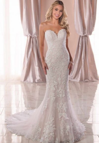 Strapless Sweetheart Lace Fit And Flare Wedding Dress by Stella York
