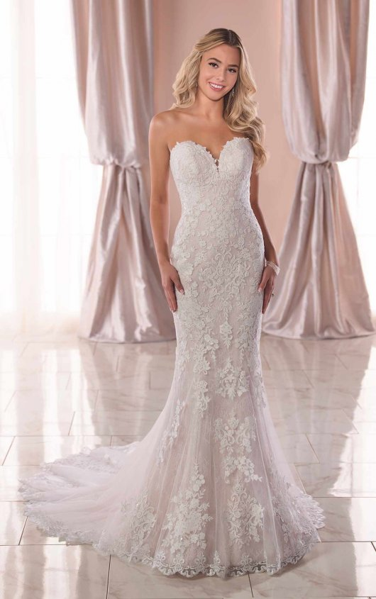 Strapless Sweetheart Lace Fit And Flare Wedding Dress by Stella York - Image 1