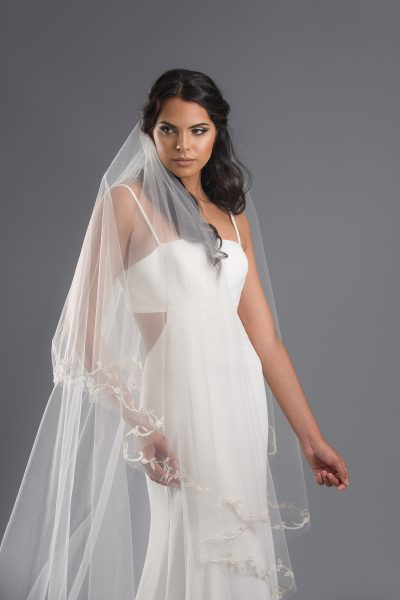 Circular Cut Embroidered Veil by Toni Federici - Image 1