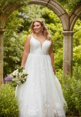 V-neck tulle ball gown wedding dress by Essense of Australia - Image 1
