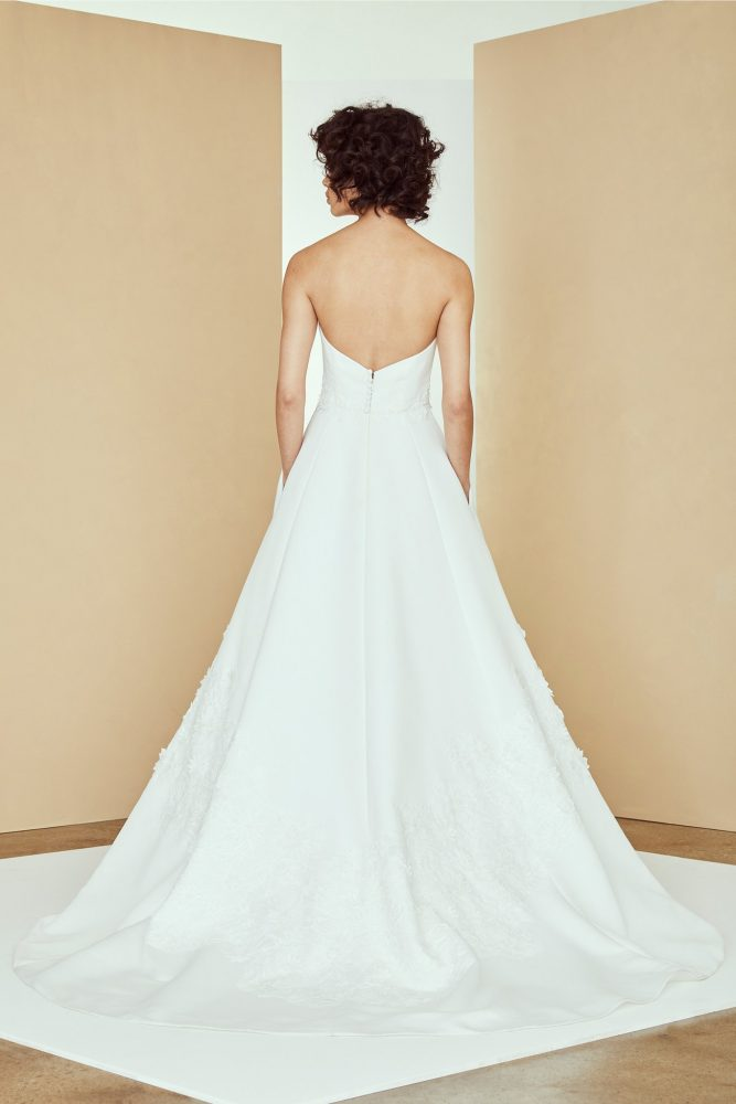 Strapless sweetheart silk a-line wedding dress with 3D lace by Nouvelle Amsale - Image 2
