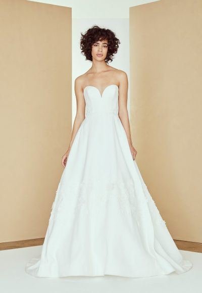 Strapless sweetheart silk a-line wedding dress with 3D lace by Nouvelle Amsale