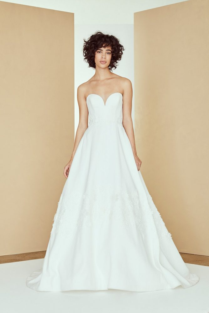 Strapless sweetheart silk a-line wedding dress with 3D lace by Nouvelle Amsale - Image 1