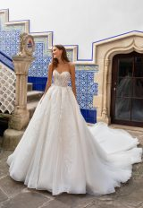 Sleeveless Deep V-neckline Crepe Ball Gown wedding dress with lace inserts by Pronovias x Kleinfeld - Image 1