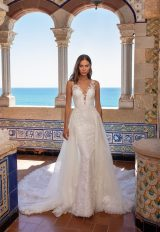 Illusion Neckline Embroidered Floral Lace Sheath Wedding Dress by Pronovias x Kleinfeld - Image 2