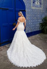Off-the-shoulder sweetheart neckline lace mermaid wedding dress by Pronovias x Kleinfeld - Image 2