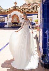 V-neckline lace embroidered a-line wedding dress with illusion long sleeves and chiffon skirt by Pronovias x Kleinfeld - Image 2