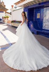 Sleeveless v-neckline lace a-line wedding dress with high low skirt by Pronovias x Kleinfeld - Image 2