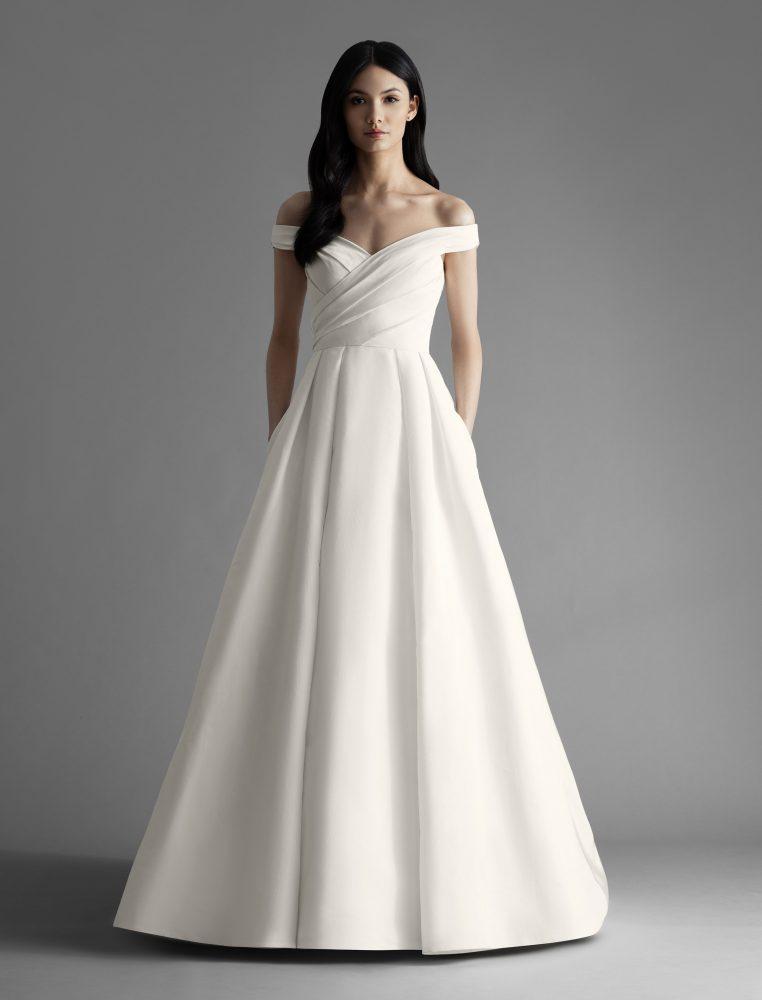 Off The Shoulder Draped A-line Wedding Dress by Allison Webb - Image 1