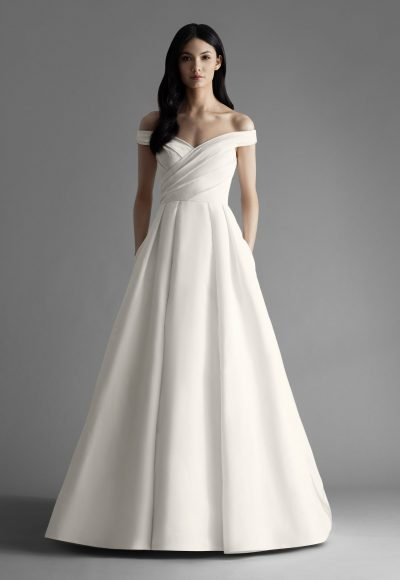Off The Shoulder Draped A-line Wedding Dress by Allison Webb