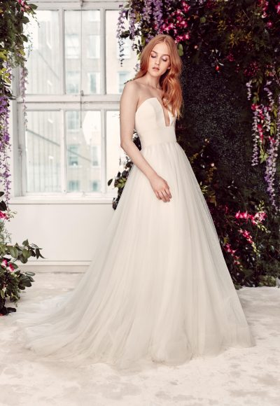 Strapless Tulle Ballgown Wedding Dress With Notched Bodice by Alyne by Rita Vinieris