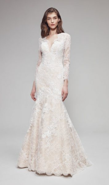 3/4 Sleeve Lace V-neckline Fit And Flare Wedding Dress by Anne Barge - Image 1