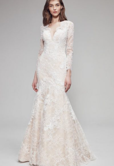 3/4 Sleeve Lace V-neckline Fit And Flare Wedding Dress by Anne Barge