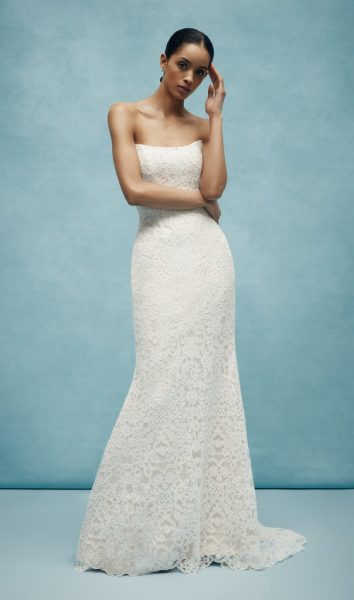 Lace Sheath Strapless Wedding Dress by Anne Barge - Image 1