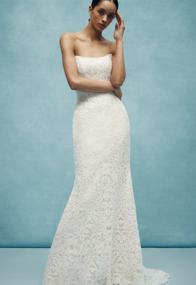 Lace Sheath Strapless Wedding Dress by Anne Barge