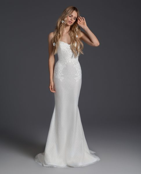 Lace Sweetheart Neckline Sheath Wedding Dress by BLUSH by Hayley Paige - Image 2