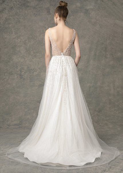 Deep V-neck Beaded A-line Wedding Dress by Enaura Bridal - Image 2