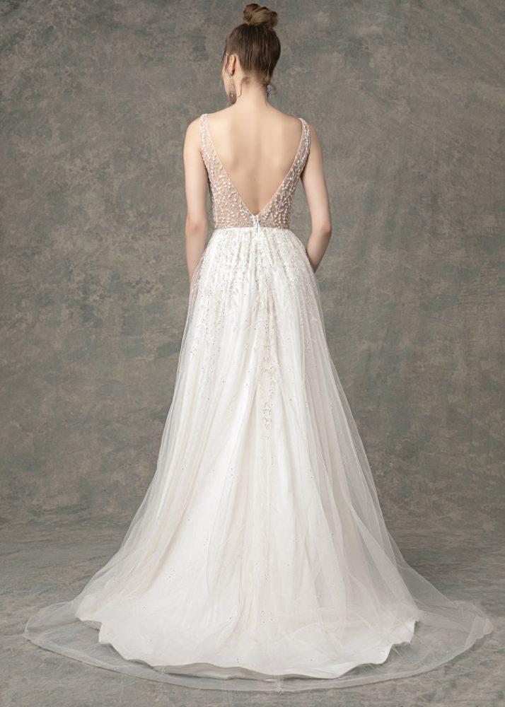 Deep V-neck Beaded A-line Wedding Dress by Enaura Bridal - Image 2