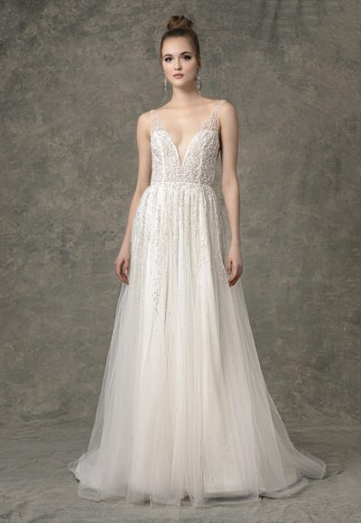 Deep V-neck Beaded A-line Wedding Dress by Enaura Bridal