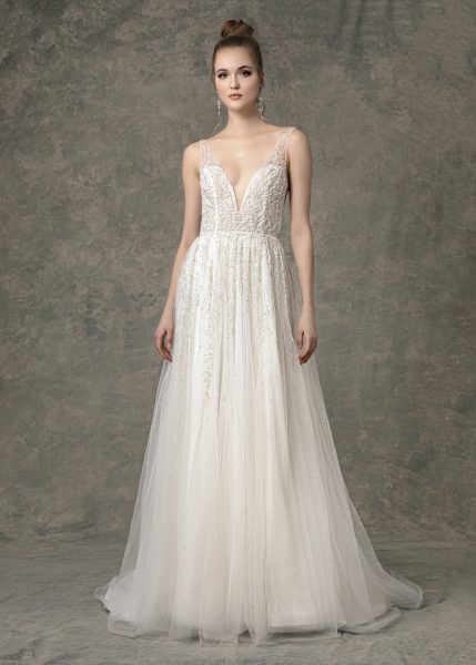 Deep V-neck Beaded A-line Wedding Dress by Enaura Bridal - Image 1