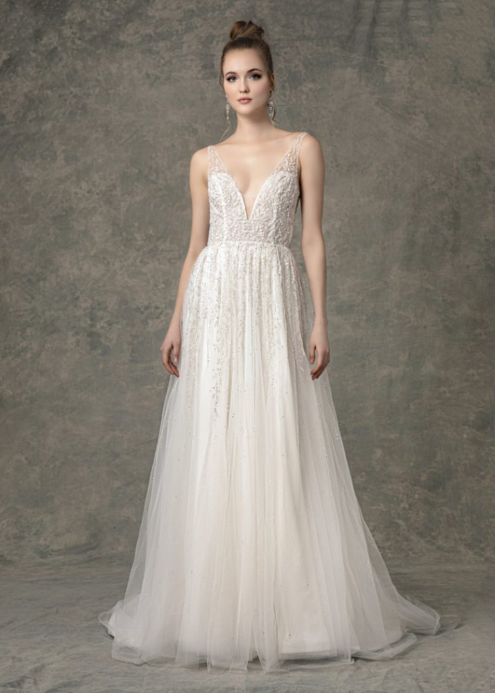 Deep V-neck Beaded A-line Wedding Dress by Enaura Bridal - Image 1