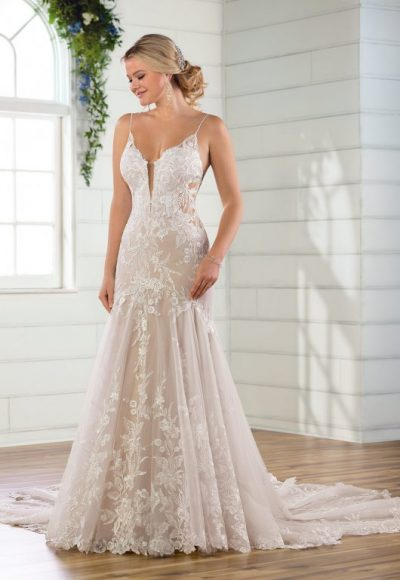 Spaghetti Strap V-neckline Lace Mermaid Wedding Dress by Essense of Australia