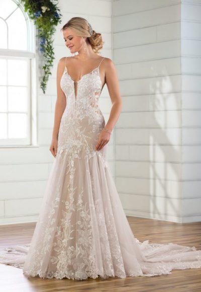 Spaghetti Strap V-neckline Lace Mermaid Wedding Dress by Essense of Australia