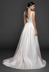 Sleeveless V-neckline Silk Fit And Flare Wedding Dress With Attached Overskirt by Lazaro - Image 2