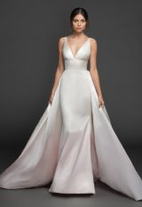 Sleeveless V-neckline Silk Fit And Flare Wedding Dress With Attached Overskirt by Lazaro - Image 1