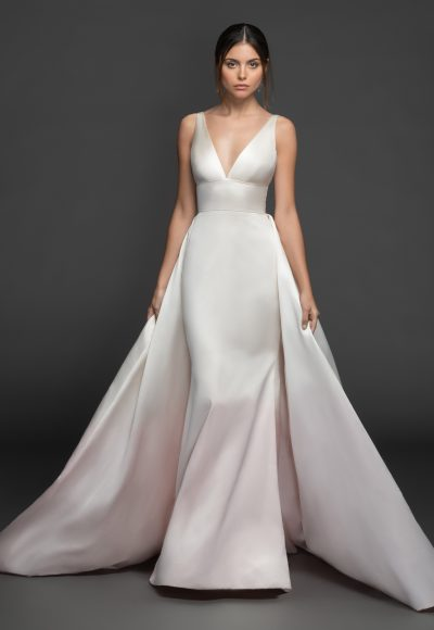 Sleeveless V-neckline Silk Fit And Flare Wedding Dress With Attached Overskirt by Lazaro