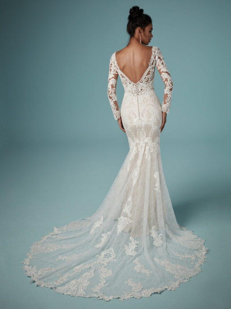 Bateau Neckline Long Sleeve Lace Sheath Wedding Dress by Maggie Sottero - Image 2