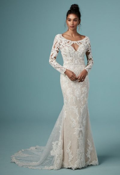 Bateau Neckline Long Sleeve Lace Sheath Wedding Dress by Maggie Sottero