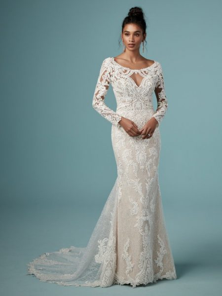 Bateau Neckline Long Sleeve Lace Sheath Wedding Dress by Maggie Sottero - Image 1