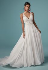 Sleeveless V-neckline Beaded Bodice A-line Wedding Dress by Maggie Sottero - Image 1