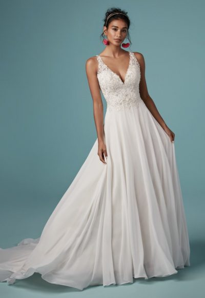 Sleeveless V-neckline Beaded Bodice A-line Wedding Dress by Maggie Sottero