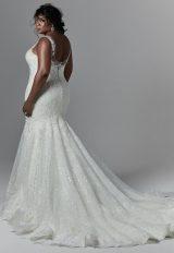 Sleeveless V-neckline Beaded Lace Fit And Flare Wedding Dress by Maggie Sottero - Image 2
