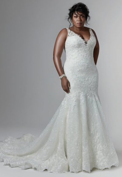 Sleeveless V-neckline Beaded Lace Fit And Flare Wedding Dress by Maggie Sottero