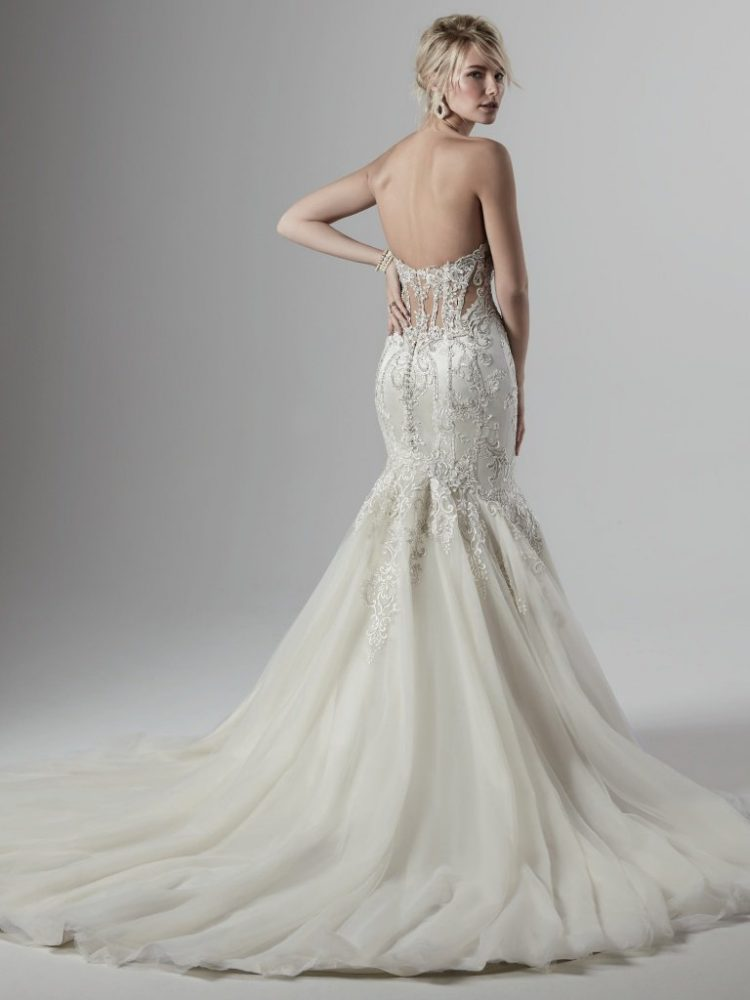 Strapless Sweetheart Beaded Silk Fit And Flare Wedding Dress by Maggie Sottero - Image 2