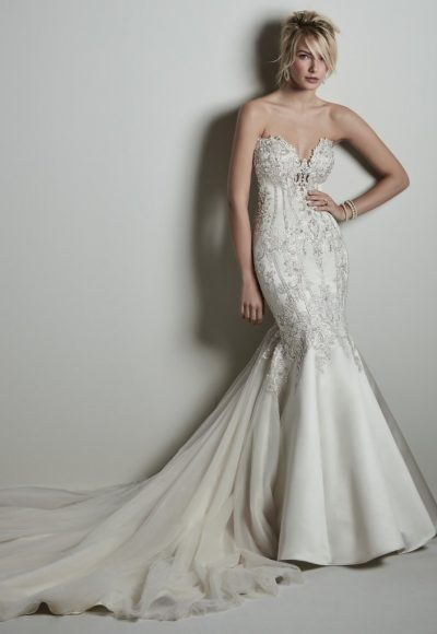 Strapless Sweetheart Beaded Silk Fit And Flare Wedding Dress by Maggie Sottero