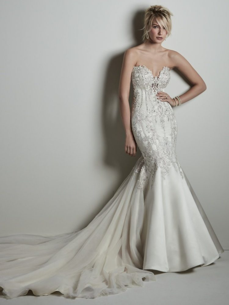 Strapless Sweetheart Beaded Silk Fit And Flare Wedding Dress by Maggie Sottero - Image 1