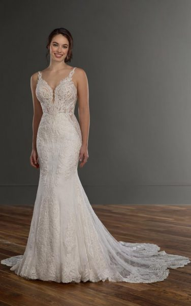 Sleeveless V-neckline Beaded And Embroidered Fit And Flare Wedding Dress by Martina Liana - Image 1