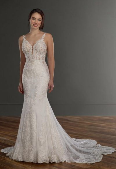Sleeveless V-neckline Beaded And Embroidered Fit And Flare Wedding Dress by Martina Liana