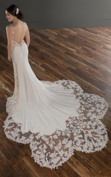 Spaghetti Strap V-neckline Crepe Fit And Flare Wedding Dress With Beading And Embroidery by Martina Liana - Image 2