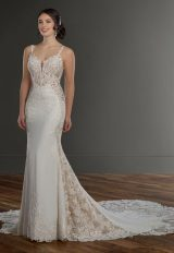 Spaghetti Strap V-neckline Crepe Fit And Flare Wedding Dress With Beading And Embroidery by Martina Liana - Image 1