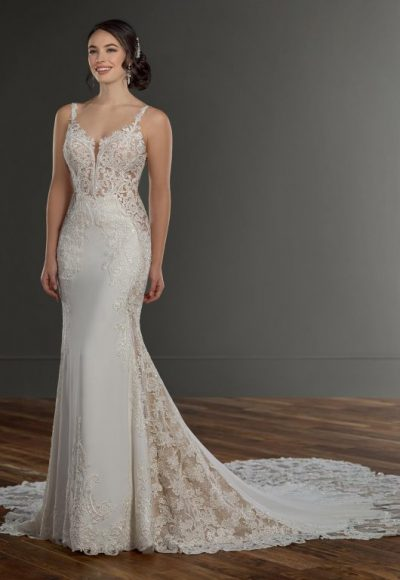 Spaghetti Strap V-neckline Crepe Fit And Flare Wedding Dress With Beading And Embroidery by Martina Liana